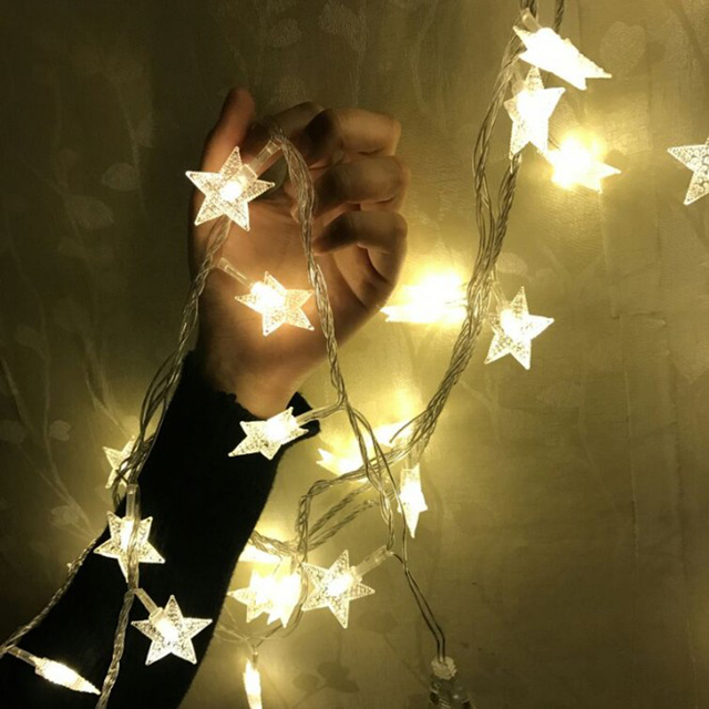 3510m led star garland string light christmas tree light battery operated led