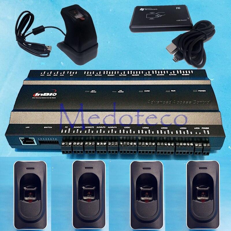 Four-door Two-Way Fingerprint Access Control Panel Inbio460 Biometric Access Control kit with FR1200 Fingerprint Reader ZK4500