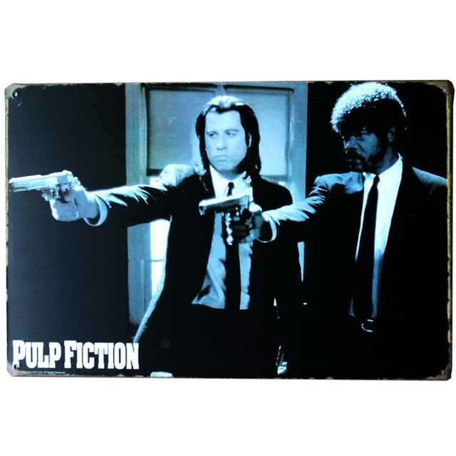 Mike86 Pulp Fiction Movie Metal Plaque Gift PUB Wall Art Painting Bar Craft Tin