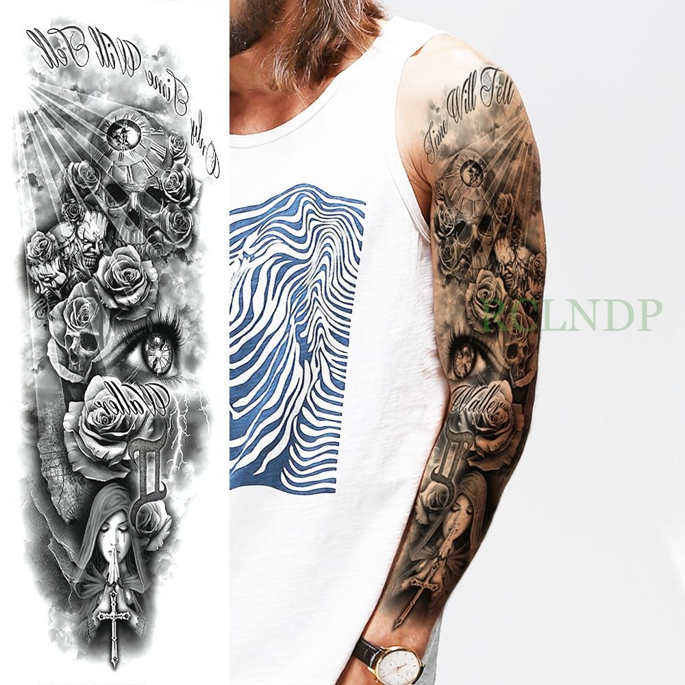 Temporary Tattoo Sticker Large Size Body Art Sketch Flower: Waterproof Temporary Tattoo Sticker Skull Rose Cross Pray