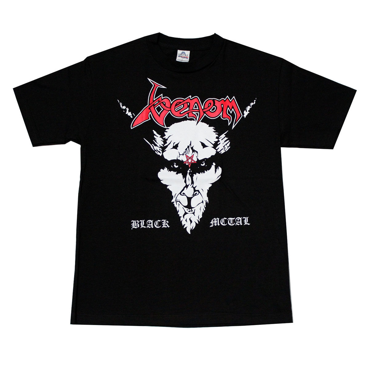 venom black metal rock band t shirt red logo cheap sale. Black Bedroom Furniture Sets. Home Design Ideas