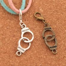 Handcuffs Freedom Lobster Claw Clasp Charm Beads 45.6x10.2mm 100PCS Tibetan silver/Bronze Jewelry DIY C243 triangular arrow lobster claw clasp charm beads 24 4x4 6mm 200pcs tibetan silver jewelry diy c462