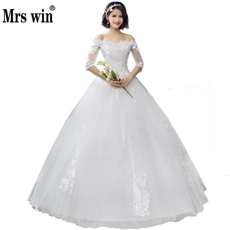 2019 Mrs Win China Cheap Wedding Dress Half Sleeve Sexy