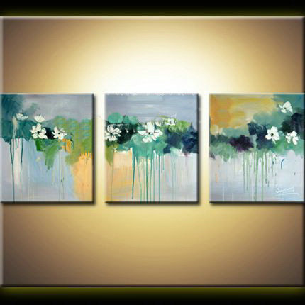 3 piece modern abstract canvas wall art handpained watercolor water ...