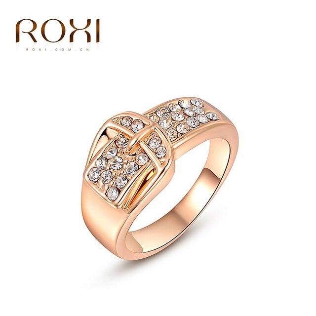 ROXI Marca Presente Frete Grátis Cor de Rosa de Ouro Cinto De Ouro Casamento Declaração Wintersweet Pedras Zircon Anel Jóias Da Moda