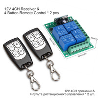 QIACHIP Universal Wireless Remote Control Switch DC 12V 4CH relay Receiver Module With 4 channel RF Remote 433 Mhz Transmitter