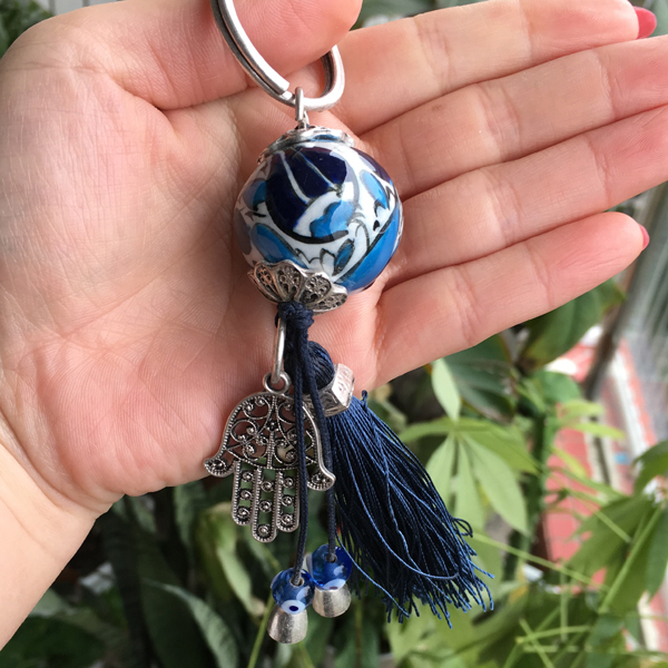 Turkish Evil Eye Key Chain Keyring Handmade Ceramic Ball With Hamsa Hand Charm Absorbs Negative Energy Arabic Islamic Car Amulet