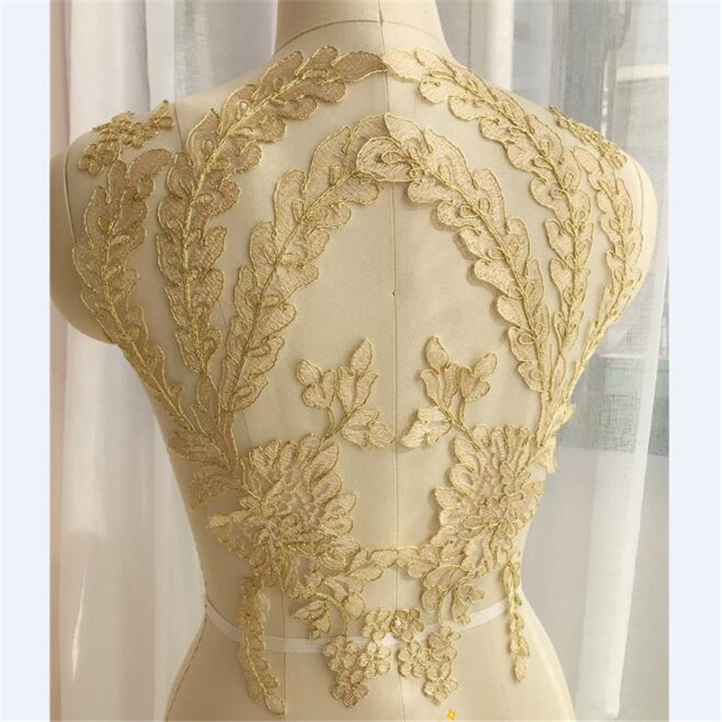 1 Pair 42X27cm Gold Ivory Lace Applique Neckline Collar Appliques Embroidery Lace Trim Fabric Cloth Sewing Patchwork DIY Craft
