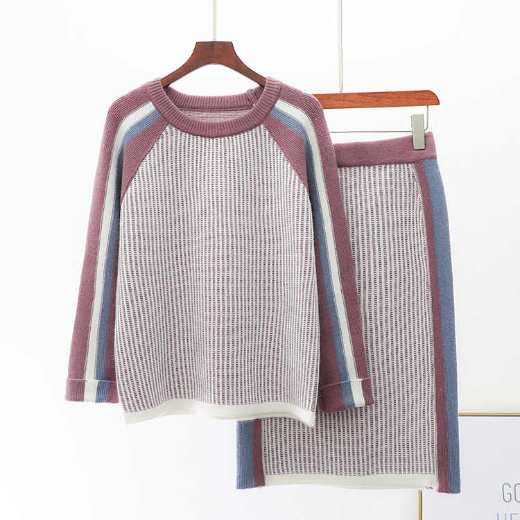 9aa8c23abc5a1 Winter New Knit Skirt Suit Female O-neck Loose Striped Sweater+knitted Skirt  Girl