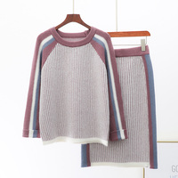 Winter New Knit Skirt Suit Female O neck Loose Striped Sweater+knitted Skirt Girl Collega Wind Two Piece Knitting Skirts Set
