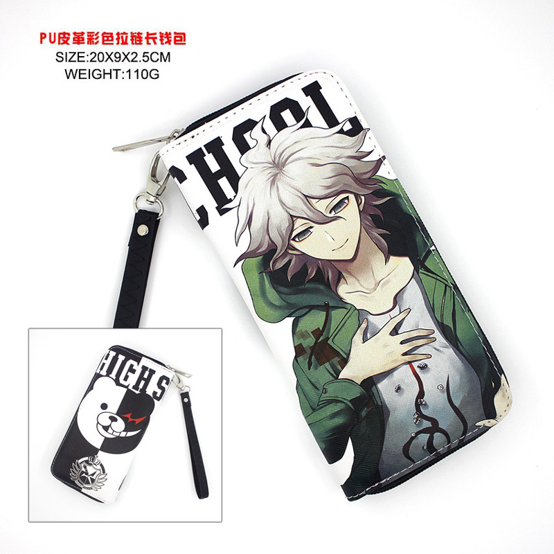 Anime Danganronpa Naegi Makoto Monokuma PU Long Wallet/Cell Phone Clutch Purse/Portable Zipper Money Bag for Gift