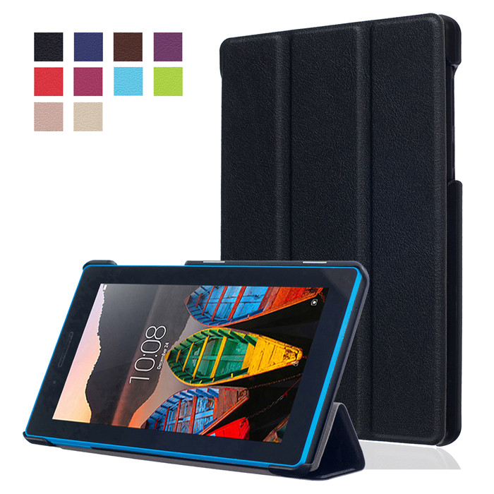 PU Leather Cover Stand Case for Lenovo TAB3 Tab 3 7 730 730F 730M 730X TB3-730F TB3-730M 7.0 Tablet + 2Pcs Screen Protector ultra slim custer fold folio stand pu leather magnetic cover protective skin case for lenovo tab3 7 tb3 730m tb3 730f 7 tablet