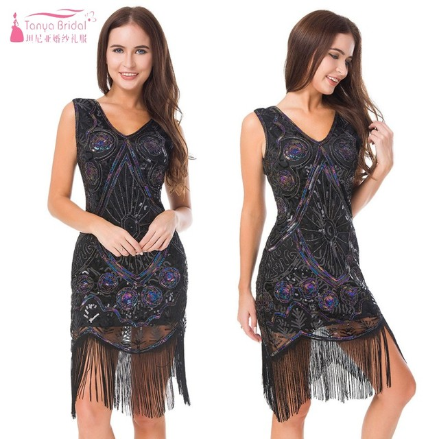 dd23dfb74405 Vintage Cocktail Dress Hand-knitted Sequin Dress Deep V Tassel Dance Party  Dresses Homecoming Women Gown DQG717