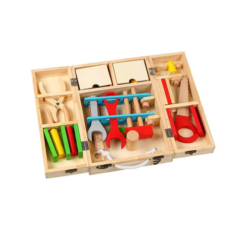 Kit de reparación de caja de herramientas de madera para niños juguetes educativos simulación desmontaje caja de carpintería tuerca de tornillo juguete para jugar a las casitas Set de regalo