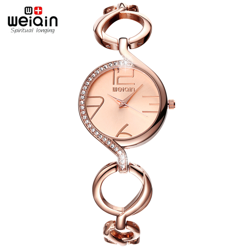 WEIQIN Brand Luxury Crystal Gold Watches Women Fashion Bracelet Watch Quartz Shock Waterproof Relogio Feminino orologio donna weiqin new 100% ceramic watches women clock dress wristwatch lady quartz watch waterproof diamond gold watches luxury brand