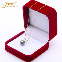 JYX 18 K Gold 10.0mm Black Tahitian Pendant Pearl South Sea Cultured Pendant 18 inches AAA Jewelry Gold 18K