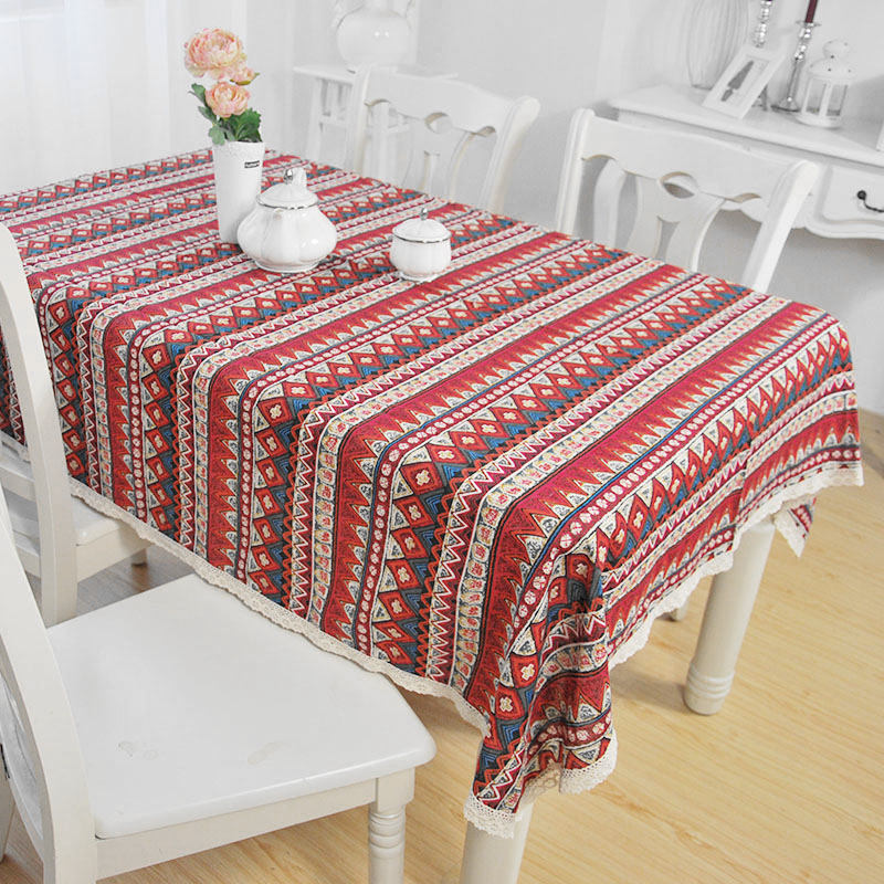 Ethnic Bohemian Tablecloth Fashion Cotton Linen Lacework Dining Table Cloth Multi Functional Decorate For Home Party Picnic