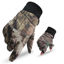 Winter Warm Running Fishing Gloves Sports Outdoor Winter Cycling Camouflage Flip Open Two Fingers Skid-resistant Gloves  K8356