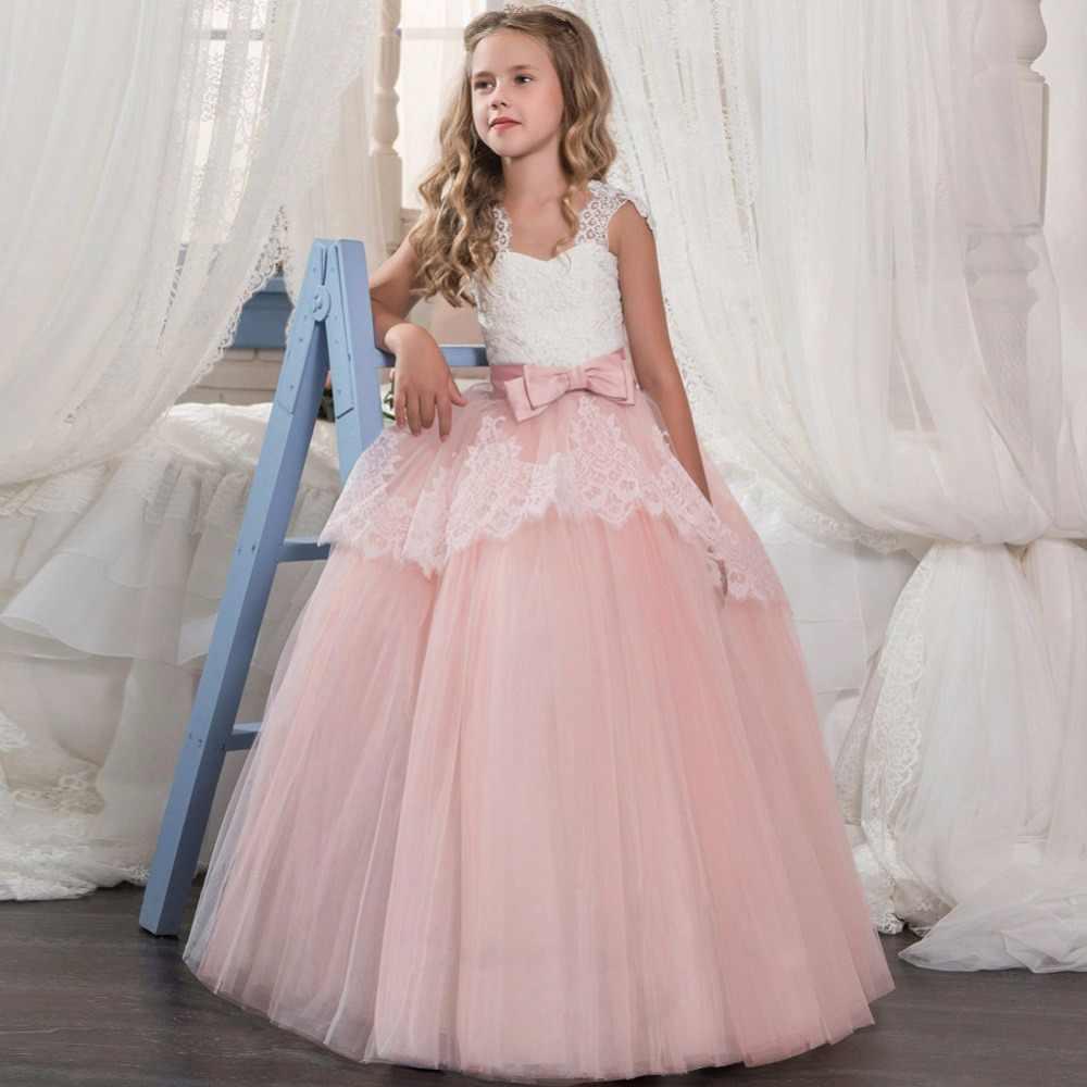 8727b6190 ... Kids White Bridesmaid Wedding Flower Girls Dress Children Prom Winter  Girls Long Sleeve Party Dresses For ...