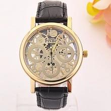 2017 New famous luxury brand fashion Hollow Watch women casual dress watches men Leather quartz wristwatch Hot relojes mujer