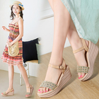 Women's Shoes Summer New Hand-woven Bright High-heeled Sandals Women's Korean Version Baitao with Thick-soled Slope heels