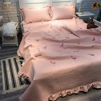 Flamingo Bed Cover Jacquard Frilled Bedspread Coverlet Pink Princess Quilt Bedspreads King Stripe Quilted Summer Quilt Blanket