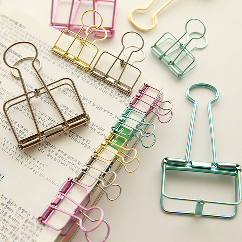 Cute Kawaii Colorful Metal Paper Clips Binder Clip For Photo Message Ticket File Office School Supplies Clips Korean Stationery цена и фото