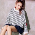 Women Sweaters and Pullovers 2016 Winter Japanese Lolita Heart Black White Striped Long Sleeve Knitted Sweater pull femme 2151