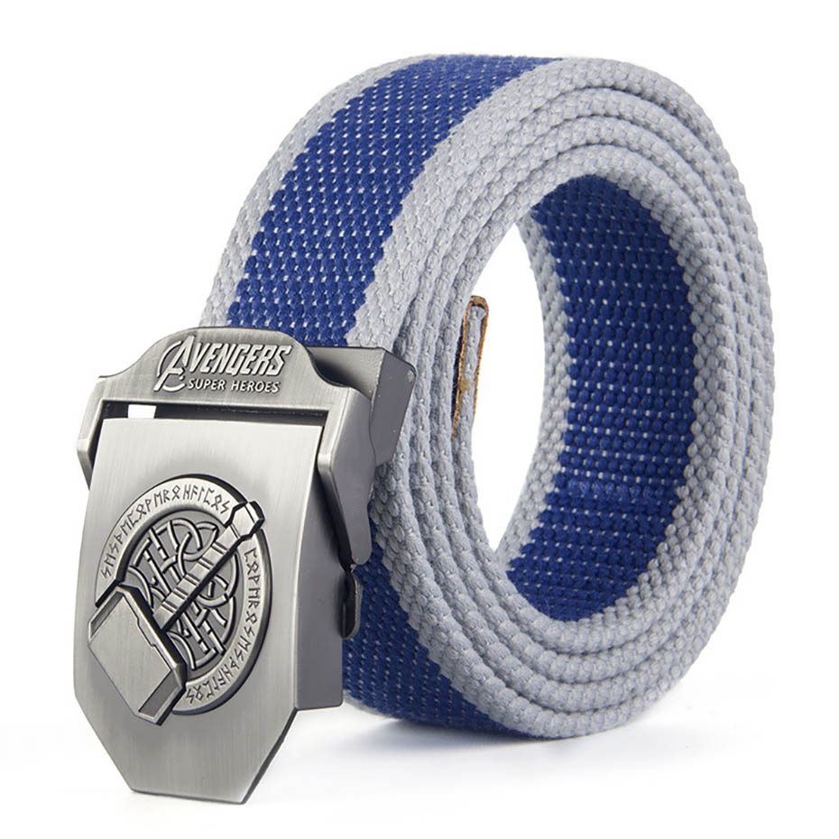 Thor Hammer Buckle High Quality Designer Brand Belt For Men Casual Style Tactical Belt For Jeans 120cm
