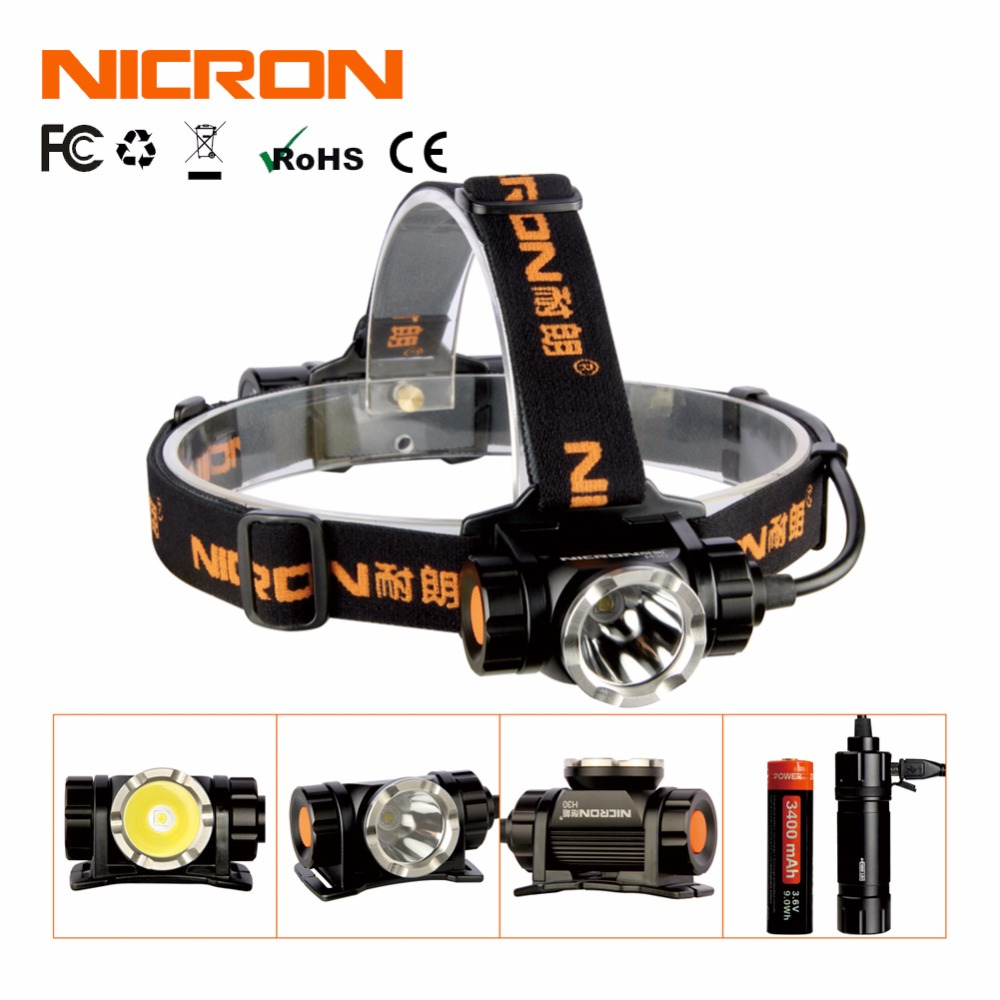 NICRON Long 900Lm 200M Waterproof Flashlight Headlight Range Rechargeable Super LED Brightness Headlamp Torch Outdoor Use H30 nicron long range rechargeable super led brightness headlamp 900lm 200m waterproof flashlight headlight torch outdoor use h30