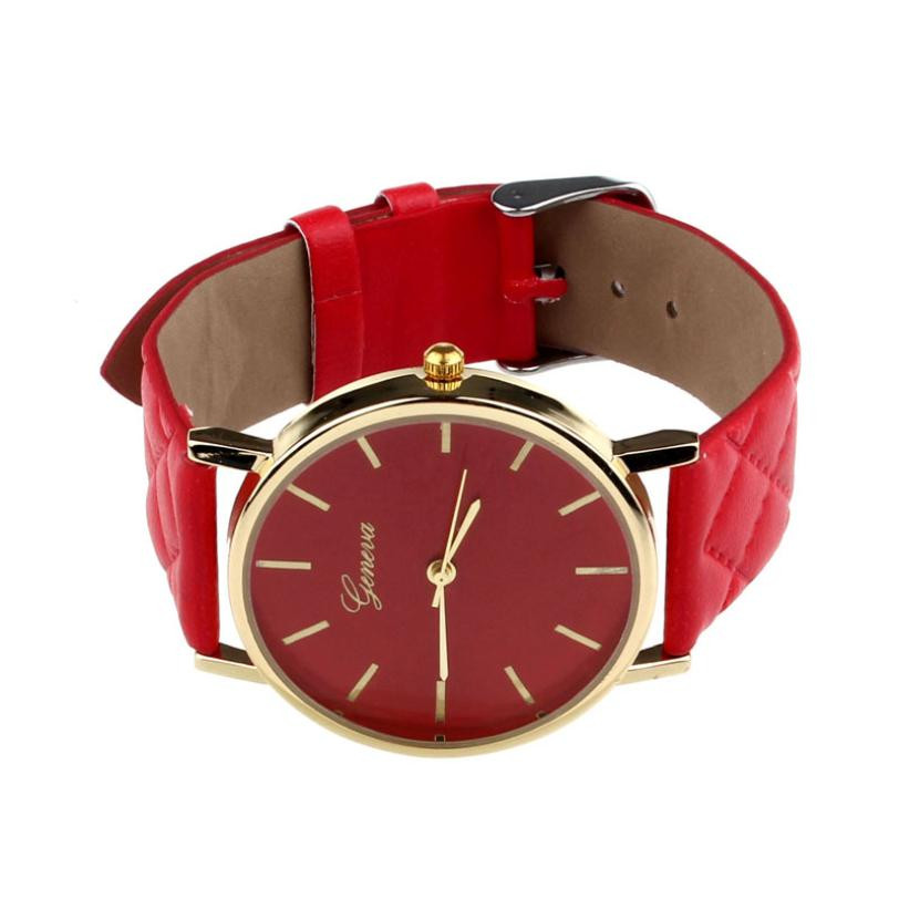 Checkers Faux Women Quartz Watch Red