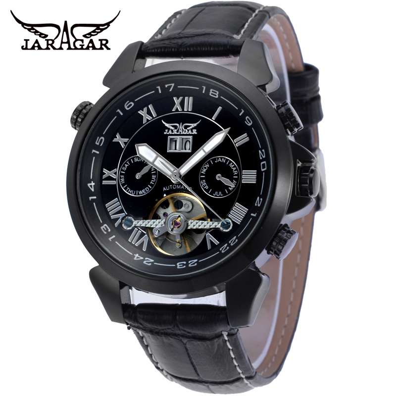 ФОТО JARAGAR Men Luxury Brand Watch Roman Number Leather Tourbillion Automatic Mechanical Wristwatches Gift Box Relogio Releges 2016
