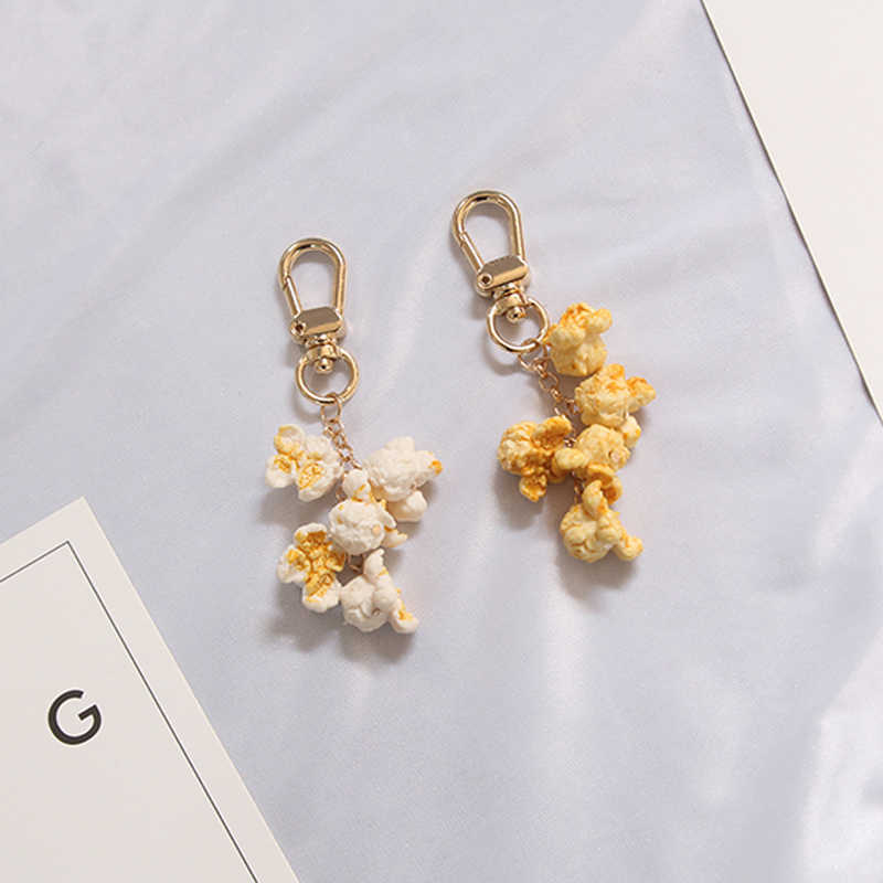 1PC Lovely Popcorn Keychain Keyring For Women Girl Jewelry Simulated Snack Cute Car Key Holder Keyring Best Friend Gift K24