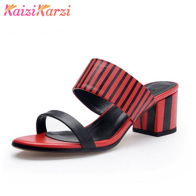 6d7adf816 KaiziKarzi Women High Heel Sandals Open Toe Slip On Mixed Color Real  Leather Women Summer Shoes Gingham Footwear Size 34-39