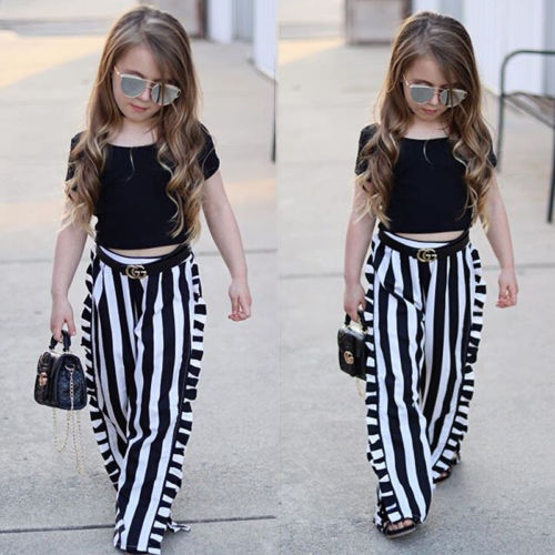 2-6T 2pcs Newborn Toddler Infant Baby Kid Girl Summer Fashion Vouge Stylish Striped Loose Long Clothes T-shirt Tops+Pants Outfit