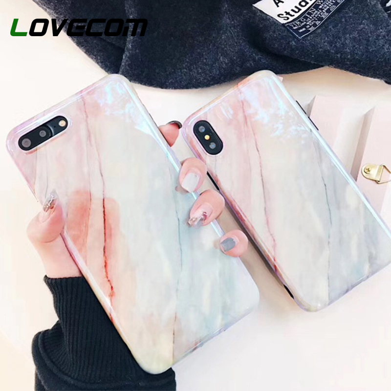LOVECOM <font><b>Blu-Ray</b></font> Phone Case For iPhone 6 6S 7 8 Plus X Fashion Coral Marble Soft IMD Smooth Phone Back Cover Cases New <font><b>Arrivals</b></font>