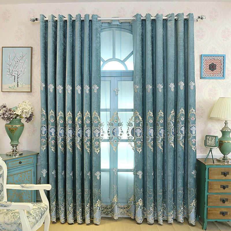 European Chenille Water Soluble Embroidery Blackout Curtain for Living Room Bedroom Classical Cloth Tulle Fabric Custom M023-40