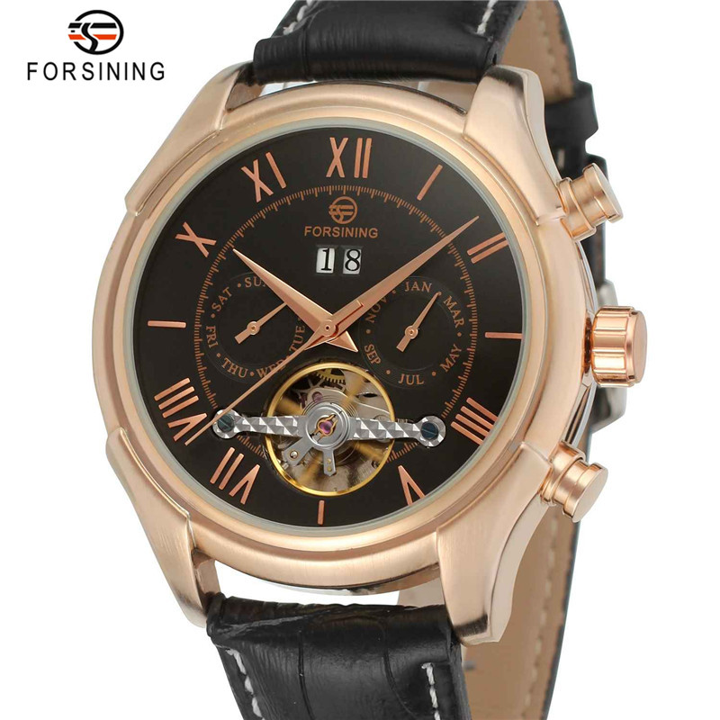 FORSINING Rose Gold Automatic Watches Men Day Week Display Male Mechanical Classic Style Business Writswatch Luxury Brand Clock forsining tourbillon designer month day date display men watch luxury brand automatic men big face watches gold watch men clock
