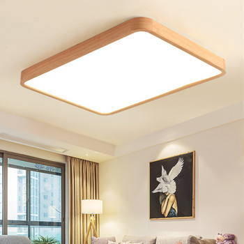 LED square wooden ceiling light for living room indoor lighting fixture solid wood bedroom dining room ceiling lamp mx5241442
