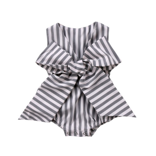 Adorable Newborn Baby Girls Bow Stripes Jumpsuit Romper Clothes Outfits Summer Sunsuit  Baby Clothing