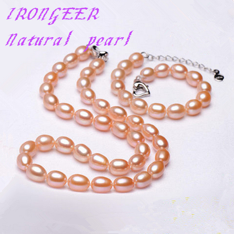 Fashion simple pearl jewelry set for women 7-9mm perfect rice-shaped natural pearl necklace + bracelet mom birthday best gift