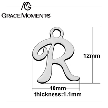 Grace Moments High Polishing Stainless Steel DIY Charm R-Z Initials Charm Alphabet Letters For Making Women Jewelry Accessories