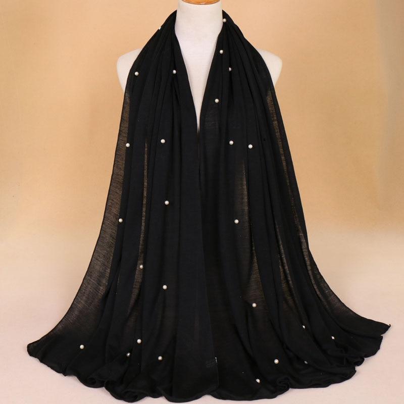 21 Colors 180*80cm Plain Jersey With Beads Hijab Wrap Cotton Elastic Islam Shawls Pearl Maxi Scarf Muslim Headband Foulard Sjaal