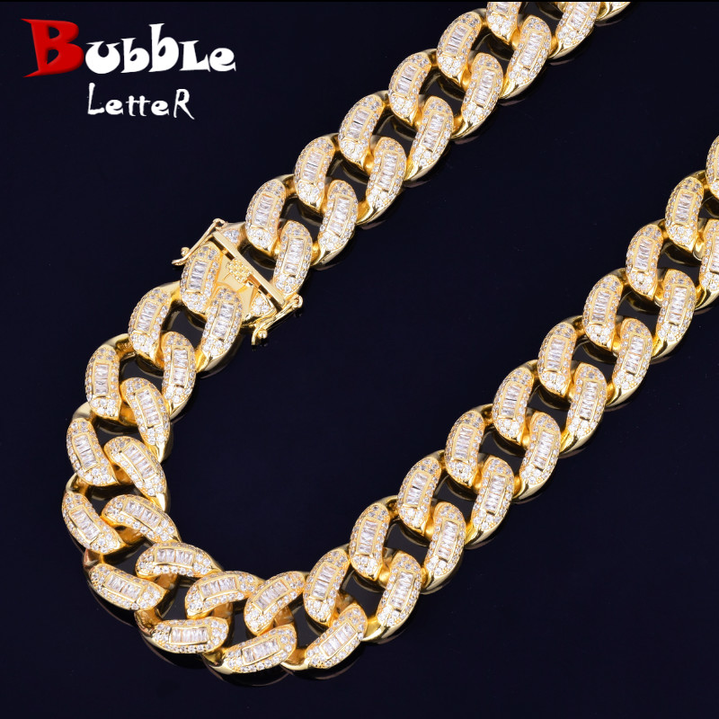 22mm Baguette Zircon Miami Cuban Link Necklace Choker Iced out Men s Hip hop Street Rock