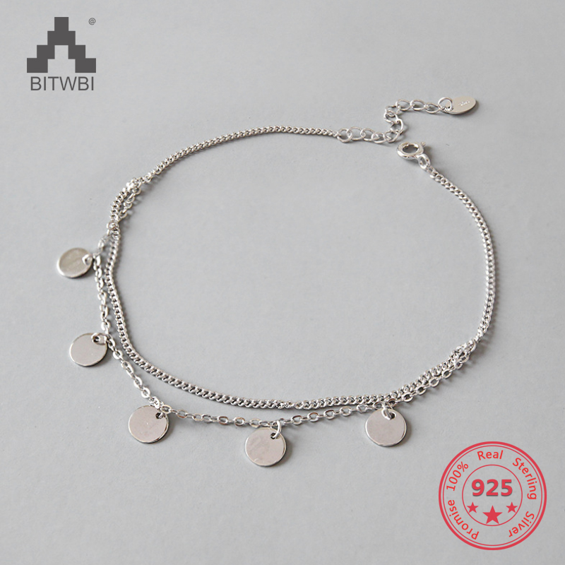 Simple Design Two Layers Polish Round Charm 925 Sterling Silver Anklet For Women Foot Chain Ankle Bracelets Summer Jewelry