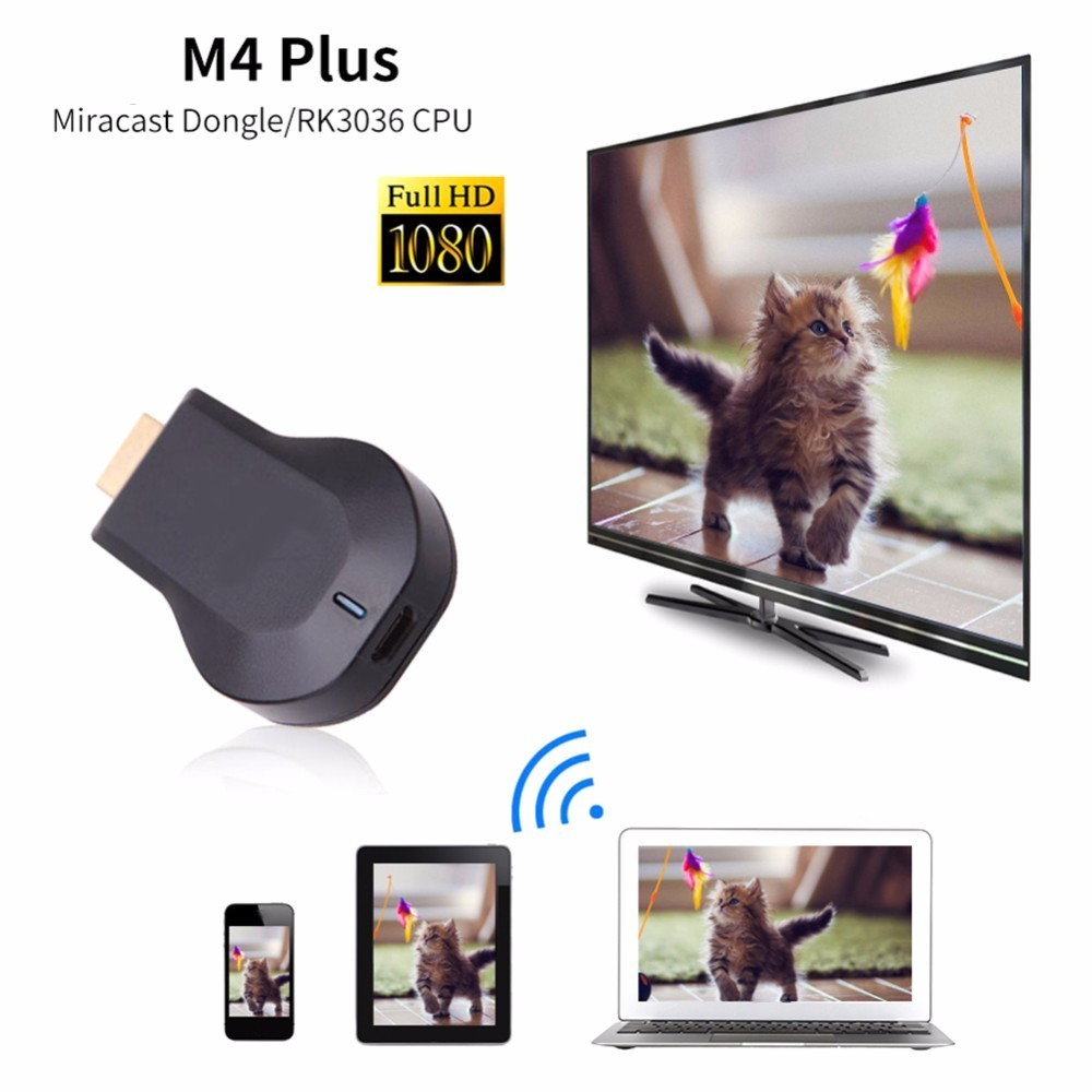AnyCast M4 Plus Wireless WiFi Dongle Receiver 1080P Display HDMI Media Video Streamer Switch-free TV Stick DLNA Airplay Miracast