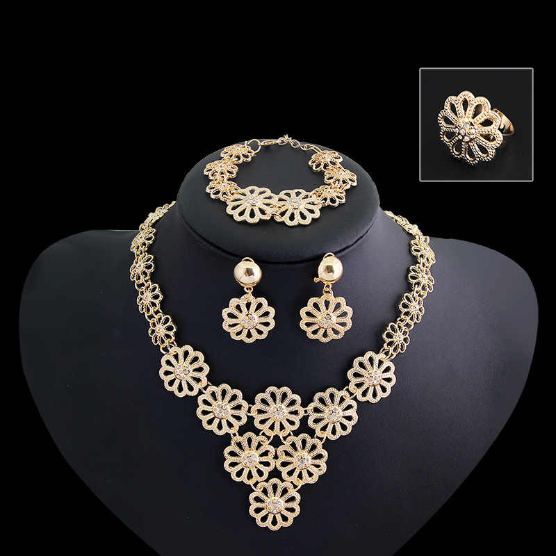 African Jewelry Sets Gold-Color Statement Flower Necklace Earrings Bracelet Ring Set For Women Jewelry Costume Accessory