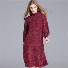 2016 autumn women clothes European high-necked long-sleeved loose sweater split fringed sweater tassel dress  69034
