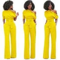 Jumpsuits Rompers Women Sexy 2017 Summer Autumn Classic pure color inclined wide legged pants conjoined at the collar buttons