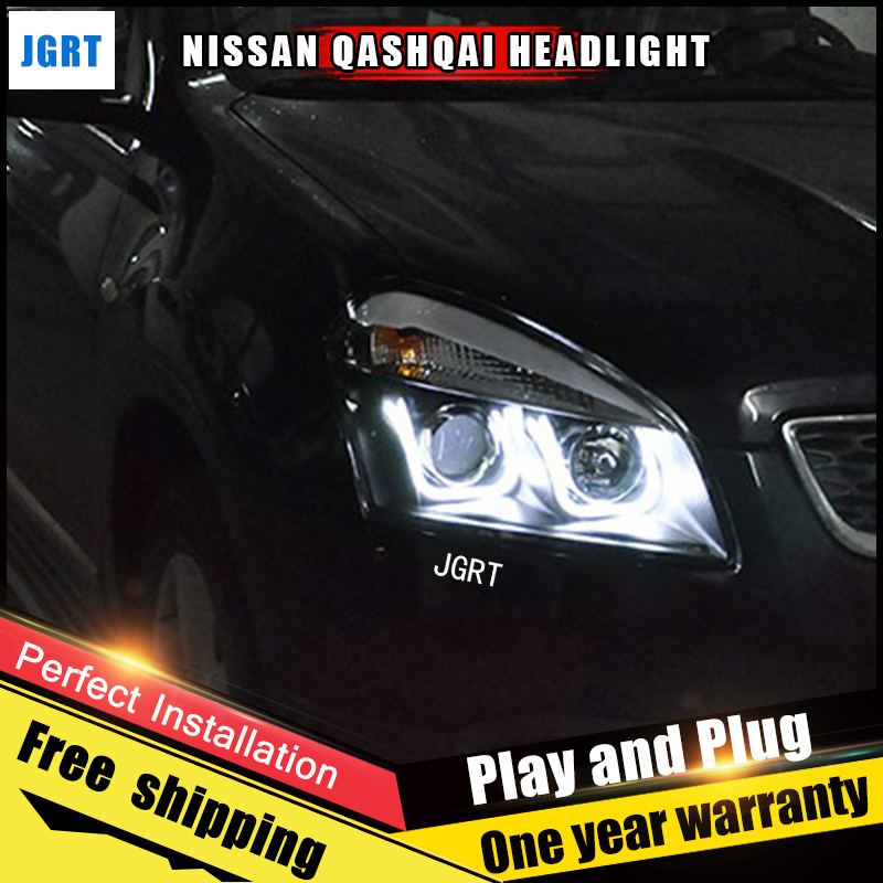Car Style LED headlights for Nissan Qashqai 2010-2013 for Altima head lamp LED DRL Lens Double Beam H7 HID Xenon bi xenon lens hireno headlamp for 2013 2015 nissan tiida headlight assembly led drl angel lens double beam hid xenon 2pcs